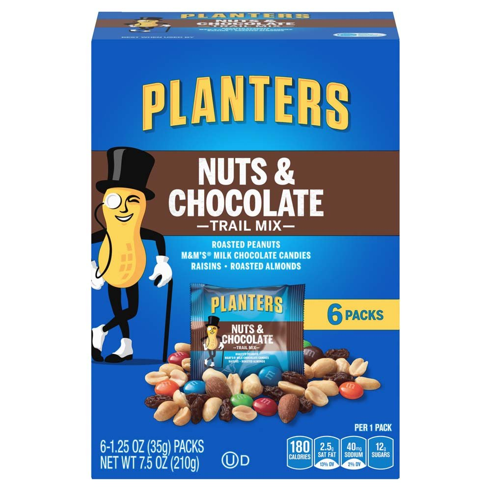 Planters Trail Mix Pack, Nut and Chocolate, 6 - 1.25 oz Pouches