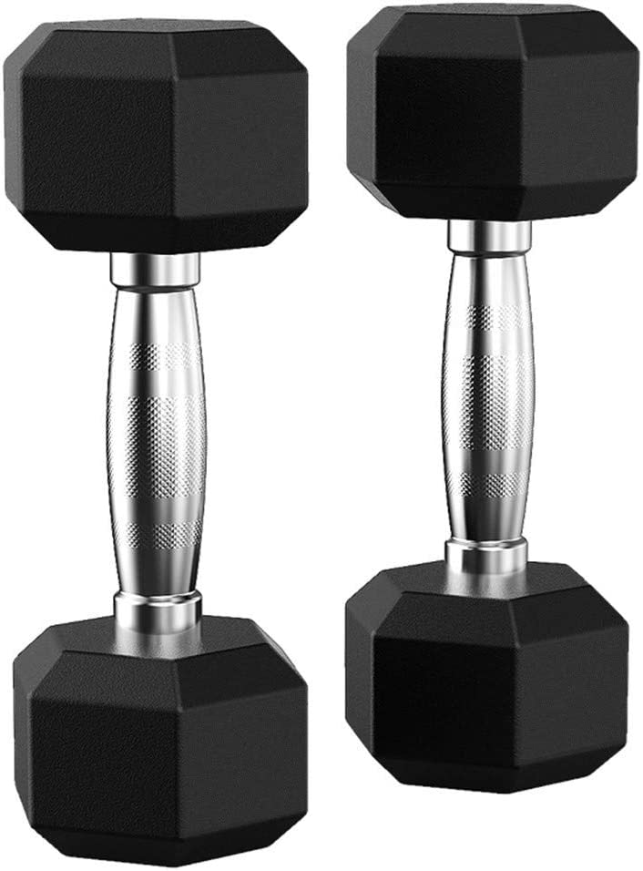 Barbell Set of 2 Hex Rubber Dumbbell with Metal Handles Therasoon Set of Heavy Rubber Dumbbells
