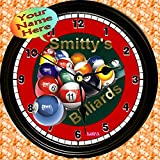 Personalized Billiards Game Room Wall Clock