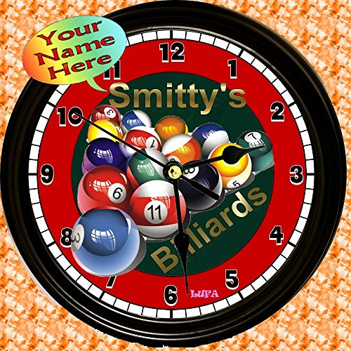 Personalized Billiards Game Room Wall Clock ()