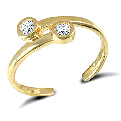 807a7e8c2 Jewelco London Ladies Solid 9ct Yellow Gold White Round Brilliant Cubic  Zirconia Cross over Torque Toe Ring: Amazon.co.uk: Jewellery
