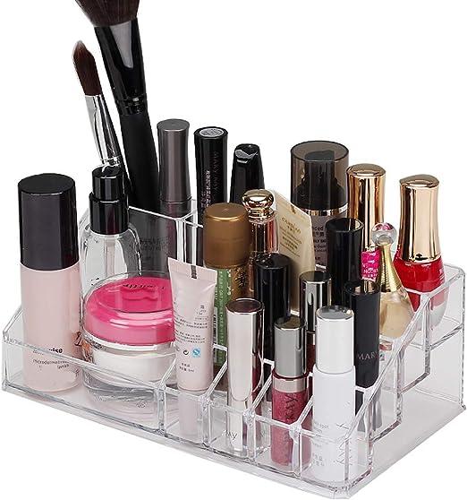 YLUMIN Caja de Almacenamiento para pintalabios Organizador de Maquillaje Transparente de Joyas acrílicas, con 12 Compartimentos organizadores, Joyas, pintalabios, esmaltes de uñas.: Amazon.es: Juguetes y juegos
