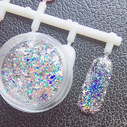 Major Dijit 0.2g/Box Galaxy Holo Flakes Bling Laser Nail Glitter Sequins Holographic Glitter Powder (Nail Glitter Holographic)