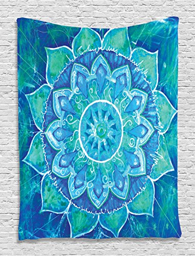 Ambesonne Chakra Tapestry Chakra Decor by, Watercolor Painting Effect Batik Ikat Abstract Mandala Theme, Bedroom Living Kids Girls Boys Room Dorm Accessories Wall Hanging Tapestry, Blue Teal