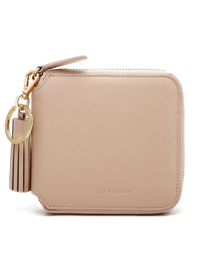 LA'FESTIN Womens Zipper Clutch Genuine Leather Tassel Square Coin Card Holder Small Wallet (Barbie Nude Color)