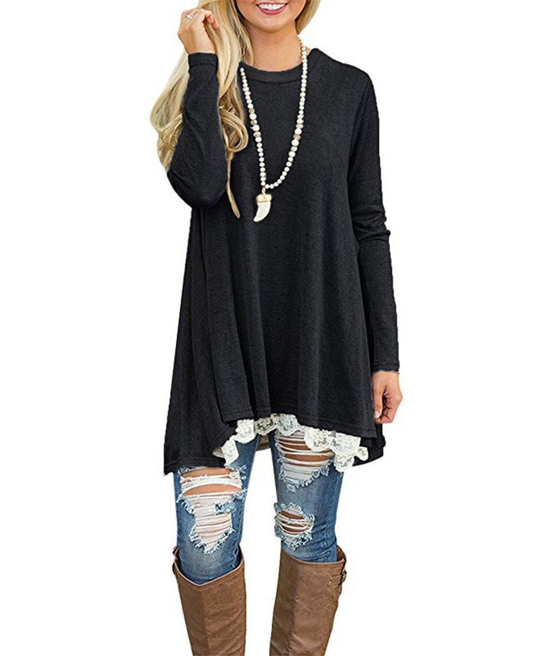 Women's Casual Tops Long Sleeve Lace Tunic Top Blouse,Black2,XX-Large