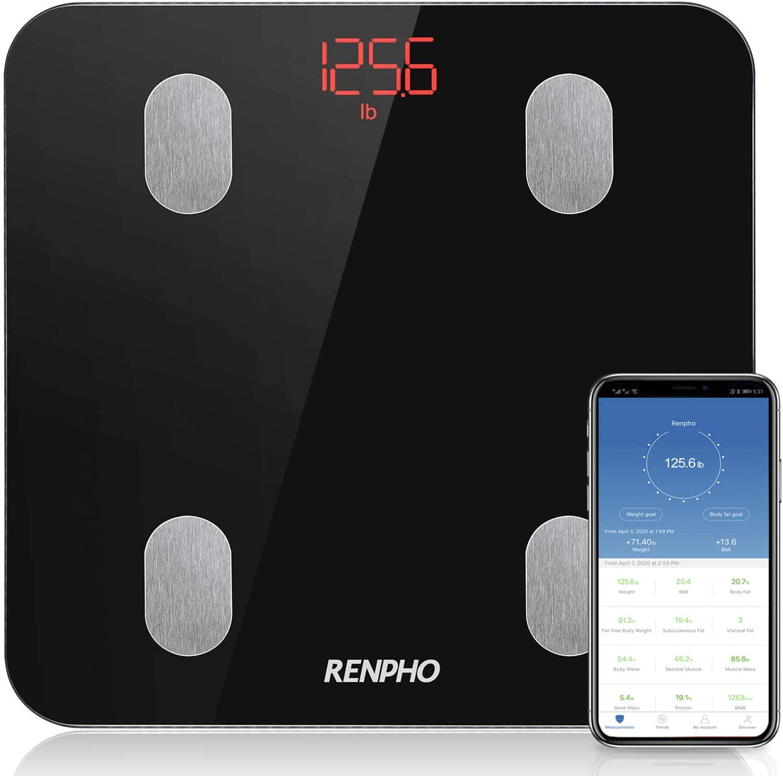 Báscula de Baño Digital Grasa Corporal Inteligente, RENPHO Báscula Bluetooth Analógica Monitores de Composición Corporal para Móviles App, Balanza Electrónica de Alta Precisa con 13 Mediciones, Negro