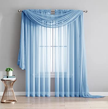 Amazing Sheer   2 Piece Rod Pocket Sheer Panel Curtains Fabric Sheer   Voile  Curtains