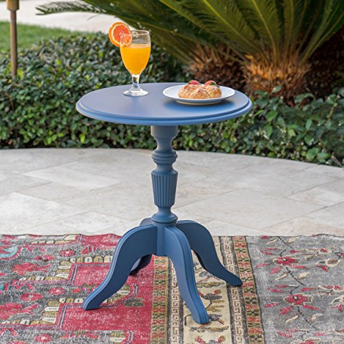 Christopher Knight Home Eco-Cross | Outdoor Side Table | Recycled Nylon | Perfect for Patio | in Norway Blue