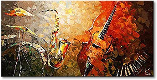 Everfun Art Hand Painted Oil Painting on Canvas Modern Music Instrument Wall Art Abstract Artwork Contemporary Hanging Ready to Hang Framed 4824 inch