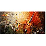 EVERFUN ART Hand Painted Oil Painting on Canvas Modern Music Instrument Wall Art Abstract Artwork Contemporary Hanging Ready to Hang (Framed 4020 inch)