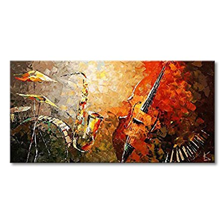 Everfun Art Hand Painted Large Oil Painting on Canvas Modern Music Instrument Wall Art Abstract Artwork Contemporary Hanging Stretched Ready to Hang Framed 5628 inch