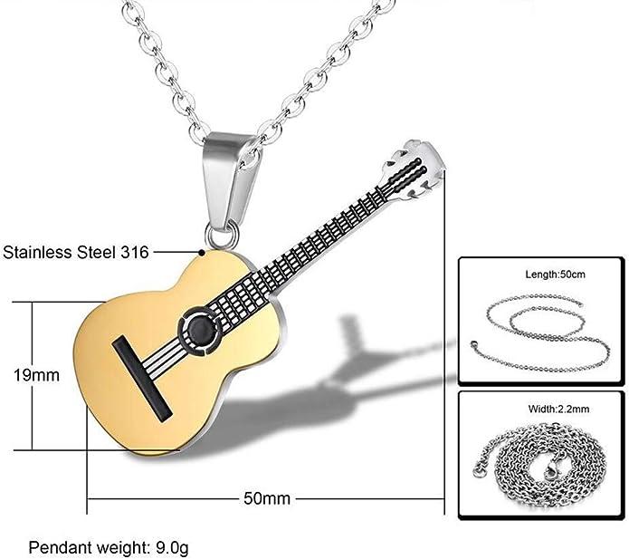 AILUOR Hommes Femmes Guitare Pick Collier avec Cha/îne R/églable Hip Hop Musique Style Titane Acier Guitare Tag Pendentif Bijoux Personnalis/é Cadeau