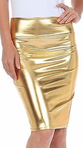Women/'s Ladies Metallic Shiny PVC Wet Look High Waist Pencil Midi Skirt Party