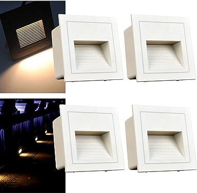 Arote 4er Set 3W LED Wandeinbauleuchte Wandleuchte Treppenlicht Stufenlicht Treppenleuchte Beleuchtung Lampe Alu aussen 230V warmweiß IP65 wasserdicht