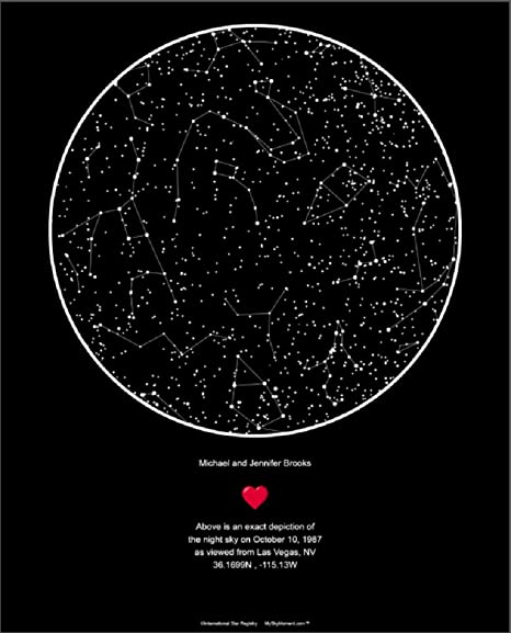 Star Registry My Sky Moment Map of The Night Sky - Black on star map poster, constellation map poster, michigan lighthouse map poster,