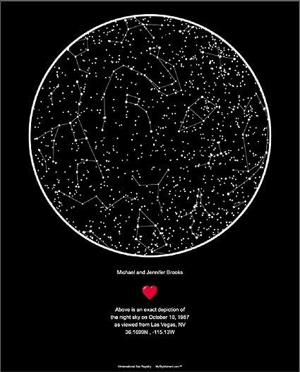 Amazon.com: Star Registry My Sky Moment Map of The Night Sky - Black on