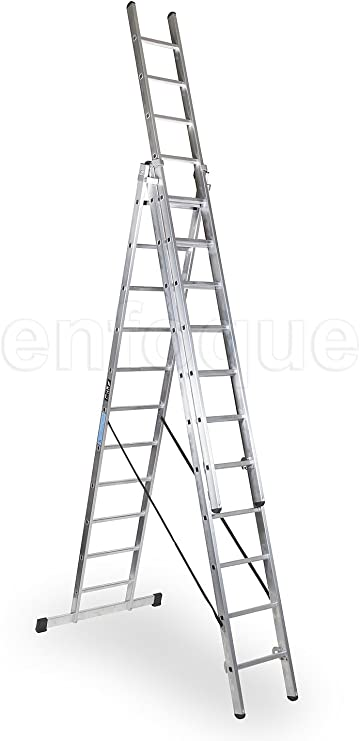 Escalera industrial de aluminio triple tijera un acceso con tramo ...