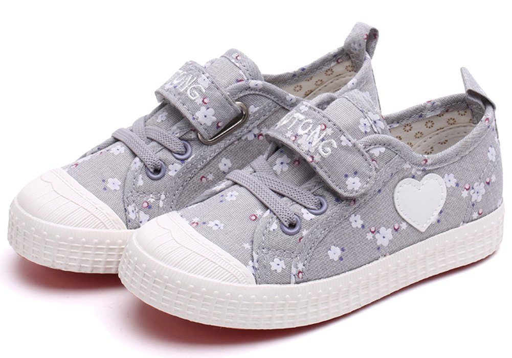 VECJUNIA Girls Sweet Floral Heart Painted Round Toe Canvas Shoes Gray 11.5 M US Little Kid by VECJUNIA (Image #4)