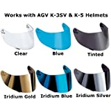 AGV K-3 SV & K-5 Motorcycle Helmet Shield Visor Windscreen Clear Tint ALL SIZES (ML,L,XL,XXL, Iridium Silver – GT2)