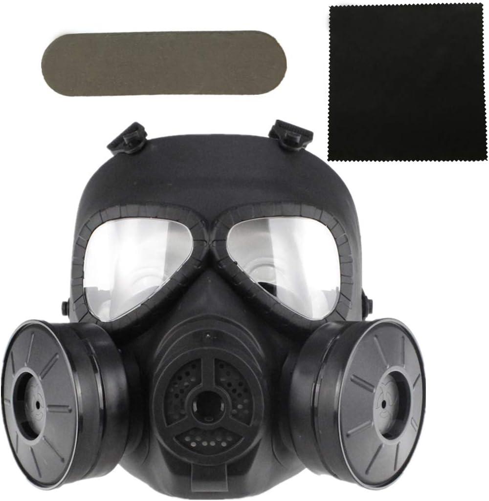 FOJMAI máscara táctica de Lente Transparente para Airsoft, Paintball, Equipo de protección CS Game Dummy antiempañamiento máscara de Gas con Doble Ventilador Turbo