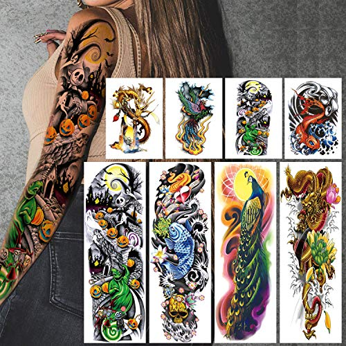 Leoars 4 Sheets Large Temporary Tattoos Sleeve Full Arm Tattoo Sticker and 4-Sheet Half Arm Fake Tattoos Nights Nightmare Before Christmas Fish Peacock Dragon Patter Tattoos Sleeve Body Art Makeup from LEOARS