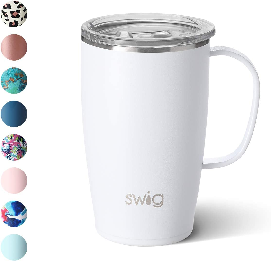 Swig Life 18oz Triple Insulated Travel Mug with Handle and Lid, Dishwasher Safe, Double Wall, and Vacuum Sealed Stainless Steel Coffee Mug in Matte White Print (Multiple Patterns Available)