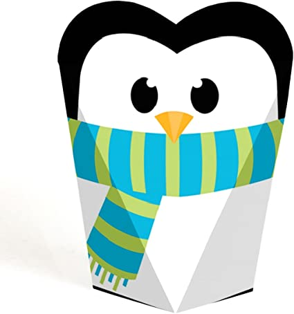 Holiday /& Christmas Party Treat Candy Boxes Set of 12 Holly Jolly Penguin Party Mini Favor Boxes