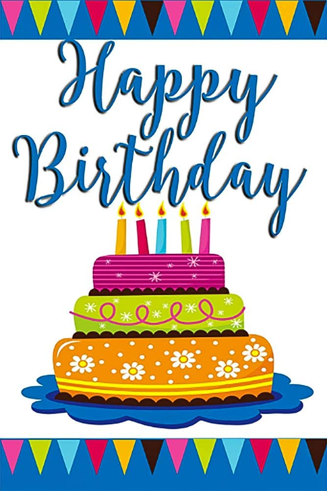 """Happy Birthday Cake and Candles Decorative Garden Flag, Double Sided, 12"""" x 18"""" Inches, Outdoor Banner"""