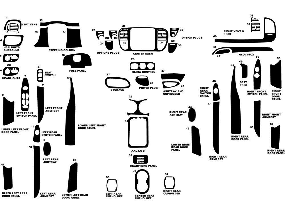 Rdash Dash Kit Decal Trim for Ford Expedition 1999 - Wood Grain (Burlwood Honey) Rvinyl