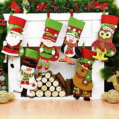 christmas elf decoration stocking holder christmas santa claus snowman elk owl penguin elf dolls decoration christmas stockings xmas candy bags christmas - Christmas Tree Decorated With Owls
