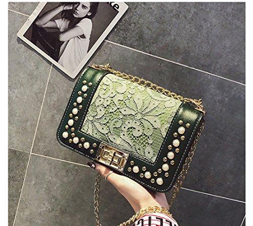 De Rrock Version Carré Chaîne Messenger Fashion Sac De Coréenne Rivets Petit Paquet Dentelle Green L'épaule 4nrT4UWg