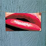 SCOCICI1588 swimmer towel Sexy Lips of a Woman Mouth with Red Lipstick on Posing with Charming Gestures Moisture Wicking L39.4 x W9.8 INCH