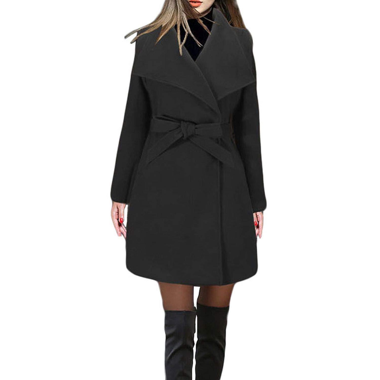 Black Winter Coat Women Casual Vintage Belt Solid Jackets Blazers Elegant Office Ladies Coat