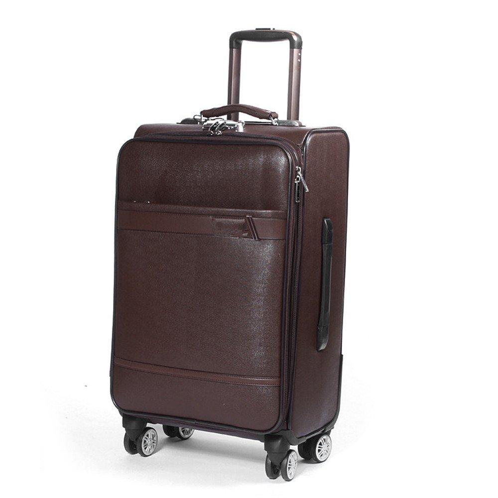 スーツケース リアルレザートランク、プルロッドボックス、24インチビジネストラベルボックス、搭乗パスワードボックス、20インチ手荷物コードボックス、ユニバーサルホイール、トラベルギア B07V9SXF5G