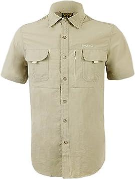 IKRR Camisas Secado rápido Manga Corta para Hombre (Caqui#2 ...