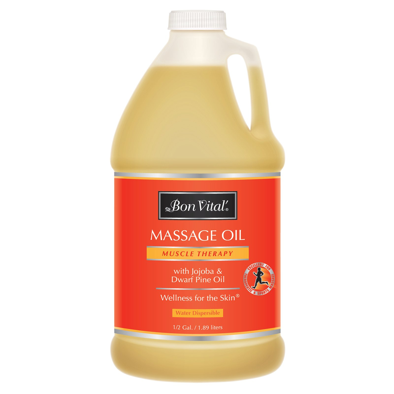 Bon Vital' Muscle Therapy Massage Oil Made with Dwarf Pine Oil & Essential Oils for a Relaxing Massage & Sore Muscle Relief, Can Be Combined with the IASTM and Graston Techniques, 1/2 Gallon Bottle