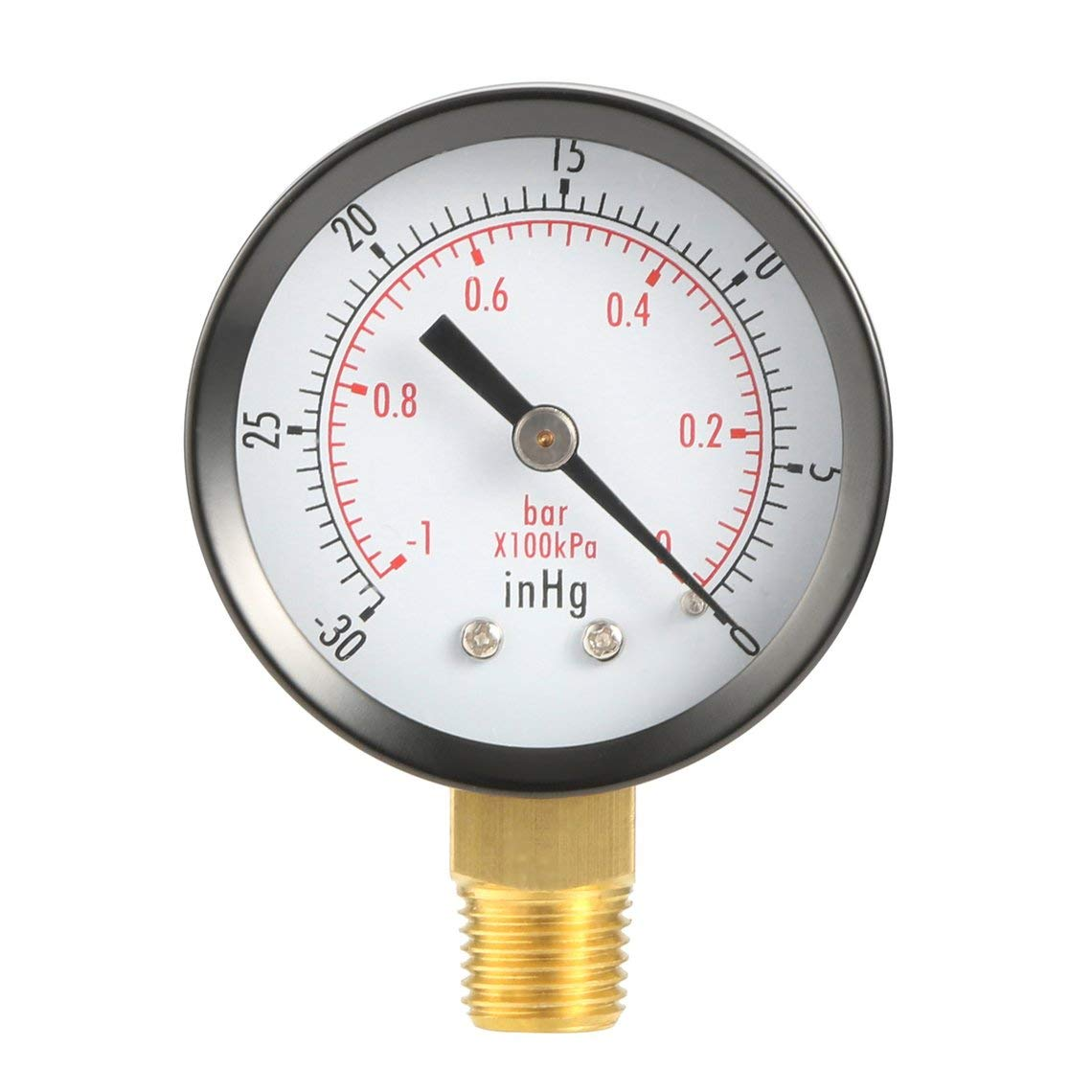 Dry Utility Vakuum Manometer Blk Stahl 1/4NPT Unterer Mount -30HG / 0PSI TS50-1 + 1 Brand New Kupferlegierung Dual Scale PSI Momorain