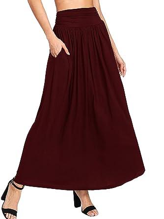 e630a0ea1e684 DIDK Damen Plissee Elastische Taille Maxi Rock Einfarbig Lange Kleider  Elegant A Linie Röcke Maxirock