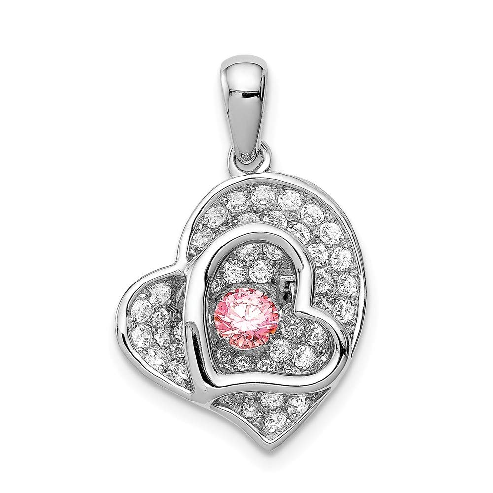 925 Sterling Silver Polished Vibrant Fancy Pink Cubic Zirconia Heart Shaped Pendant