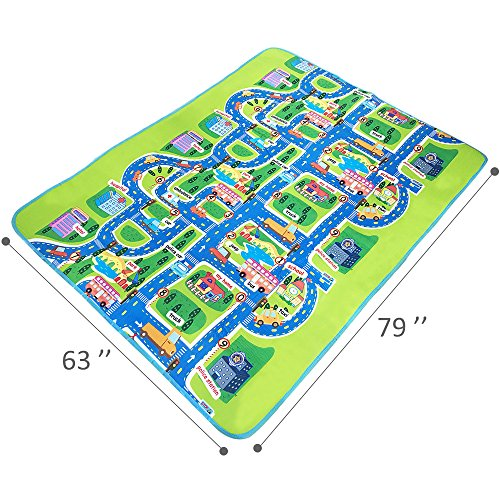 Tiny Wonders Kids Activity Creeping Play Mat, Baby Learning Decor Rug with Road Traffic, Infants Educational Car Carpet with City Town Map, Large and Thick for Floor Bedroom Playroom Safe Area Game by Tiny Wonders (Image #5)