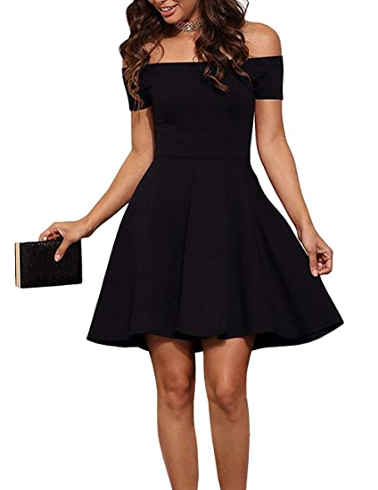 2acc853dbb EZBELLE Womens Off The Shoulder Short Sleeve Party Cocktail Skater Dress  Black Small