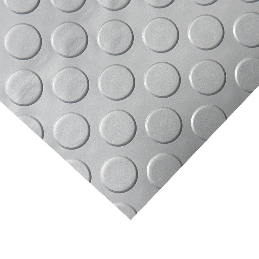 Rubber-Cal Coin Grip Metallic PVC Flooring, Silver, 2.5mm x 4' x 20'