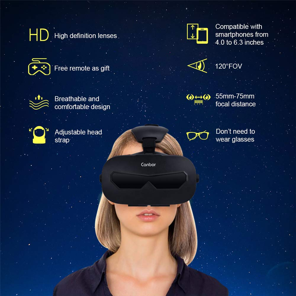 Canbor VR Headset with Remote Controller Virtual Reality Headset VR Goggles for 3D Movies and Games Compatible with 4.0-6.3 Inches for iPhone, Samsung Sony More Smartphones by Canbor (Image #3)