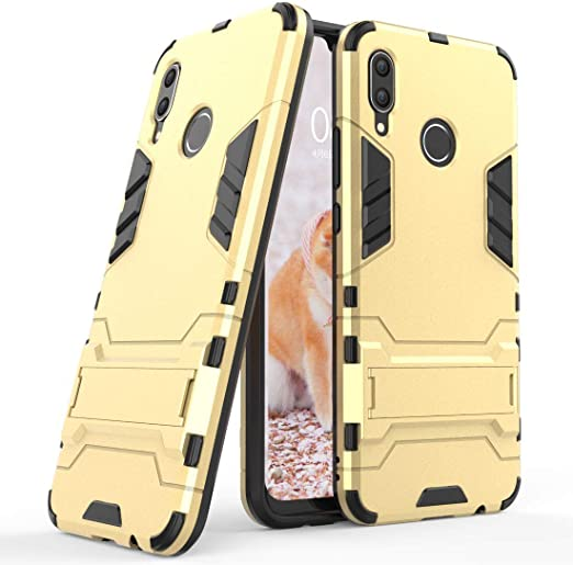 2 in 1 Shockproof with Kickstand Feature Hybrid Dual Layer Armor Defender Protective Cover Case for Huawei Honor Play Gold 6.3 inch
