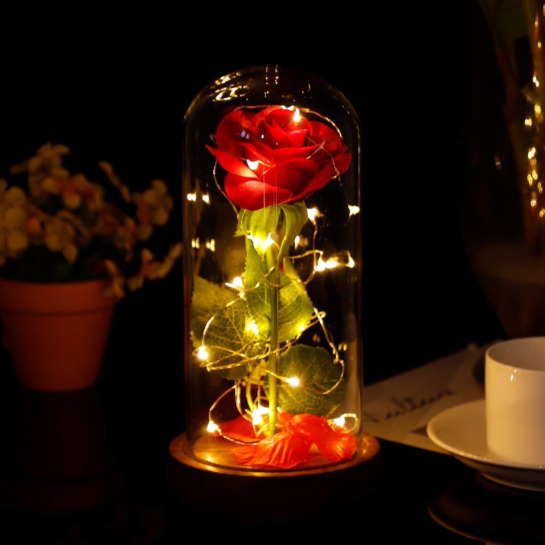 La belle et la B/ête P/étales de rose en soie Rouge et lumi/ère LED avec Fallen en d/ôme en verre sur une base en bois,Rose Enchant/ée pour Mariage danniversaire de la Saint-Valentin Anniversaire