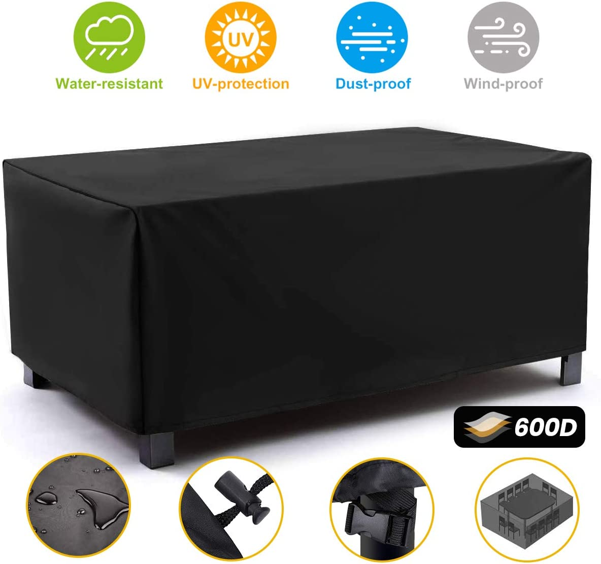 NASUM Patio Furniture Covers, 71x42x23inch, Outdoor Furniture Cover Made of 600D Heavy Duty Oxford Fabric,Waterproof Windproof Table Cover, Rain Snow Dust Wind-Proof, Anti-UV, Black Patio Square Cover: Kitchen & Dining