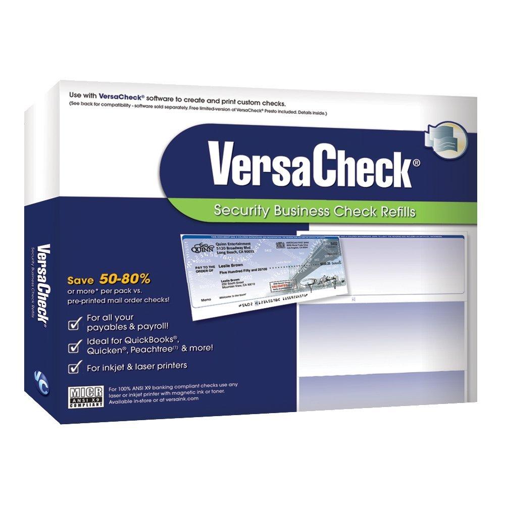 VersaCheck Security Business Check Refills: Form #1000 Business Voucher -  Blue - Prestige - 500 Sheets