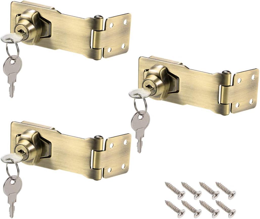 uxcell 2.5-inch Keyed Hasp Locks Zinc Alloy Twist Knob Keyed Locking Hasp W Screws for Door Cabinet Keyed Different Black 3Pcs