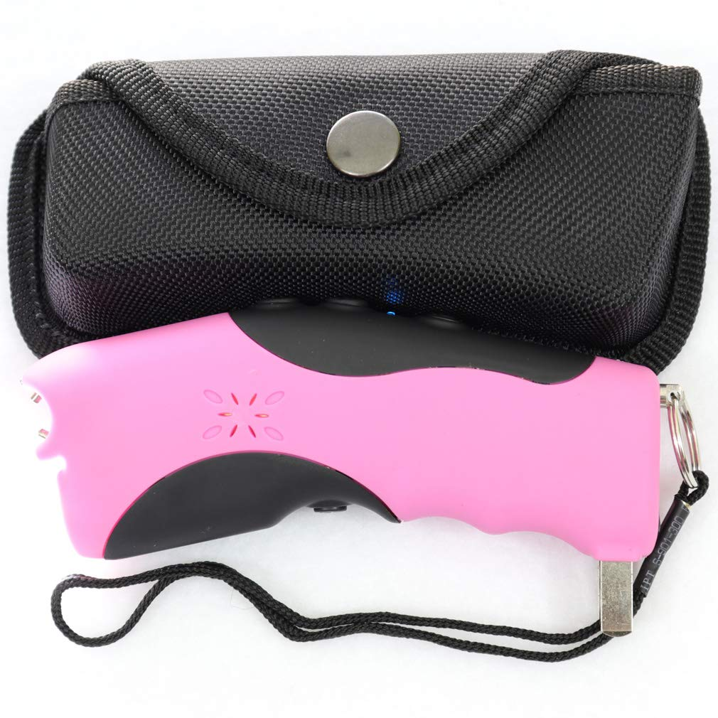 RBS Emporium Stun Gun w/Flashlight, Panic Alarm, Rechargeable Internal Battery, Safety Pin, Wrist Strap, Carabiner & Clip-on Carry Case. Includes Quick Set-up and How to Guides. (Shocking Pink) by RBS Emporium